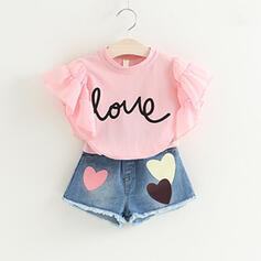 2 Stücke Mädchen Buchstaben Herz Rüschen Baumwollstoff Druck Baumwolle Stellen Sie Größe