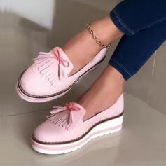 Frauen Veloursleder Flascher Absatz Flache Schuhe mit Quaste Andere Schuhe