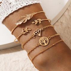 Attractive Charming Artistic Delicate Alloy With Leaf Women's Ladies' Bracelets 5 PCS