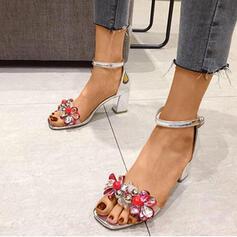 Frauen PU Stämmiger Absatz Sandalen Peep Toe mit Perlstickerei Schnalle Schuhe