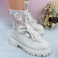 Frauen Spitze PU Flascher Absatz Absatzschuhe Stiefel Round Toe mit Zuschnüren Einfarbig Atmungsaktiv Bestickt Schuhe