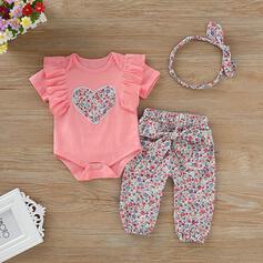 3 Stücke Baby Mädchen Herz Rüschen Druck Baumwolle Stellen Sie Größe
