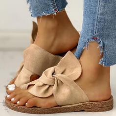 Frauen Veloursleder Flascher Absatz Sandalen Flache Schuhe Peep Toe Pantoffel mit Bowknot Schuhe