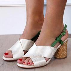 Frauen PU Stämmiger Absatz Sandalen Peep Toe Heels mit Hohl-out Spleißfarbe Schuhe