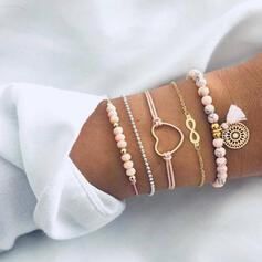 Unendlichkeit Legierung Perlen mit Herz Etikett Armbänder (Satz 5)