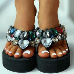 Frauen Stoff Flascher Absatz Sandalen Peep Toe Pantoffel mit Strass Schuhe