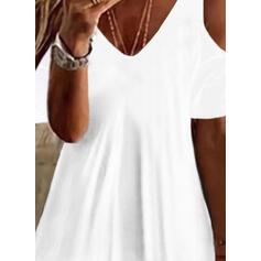 Solid Cold Shoulder Short Sleeves Cold Shoulder Sleeve Casual Basic Blouses