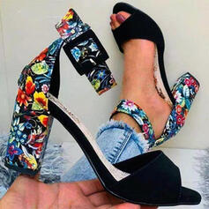 Women's PU Chunky Heel Sandals Pumps Peep Toe With Buckle Flower shoes
