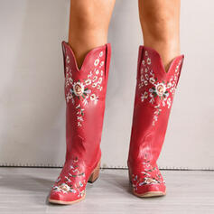 Women's PU Chunky Heel Boots Mid-Calf Boots Pointed Toe With Floral Embroidery shoes