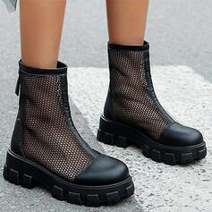 Women's Mesh Flat Heel Mid-Calf Boots Round Toe With Hollow-out Solid Color shoes