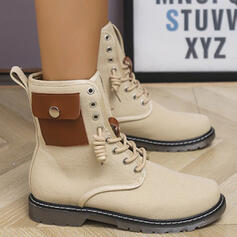Women's PU Chunky Heel Boots Martin Boots Round Toe With Lace-up Colorblock shoes