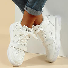 Women's PU Wedge Heel Platform Ankle Boots Low Top With Lace-up Others shoes