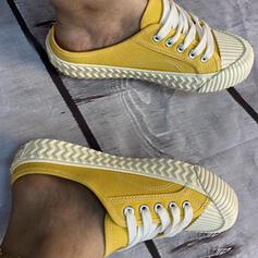 Frauen Leinwand Flascher Absatz Flache Schuhe Stiefel Kniehocher Stiefel Low Top Espadrille mit Zuschnüren Schuhe