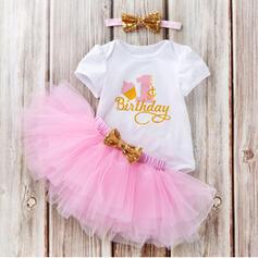 3-pieces Baby Girl Birthday Bowknot Princess Print Cotton Set