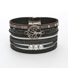 Klassische Art Geschichtet Legierung Faux-Perlen Lederseil Frauen Armbänder