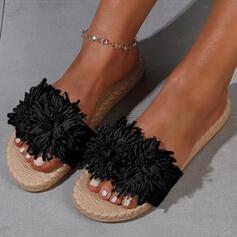 Frauen Veloursleder Flascher Absatz Sandalen Flache Schuhe Peep Toe Pantoffel Round Toe mit Blume Einfarbig Schuhe
