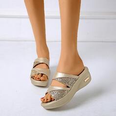 Frauen PU Keil Absatz Sandalen Peep Toe Pantoffel mit Strass Schuhe
