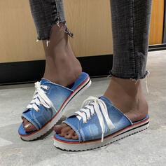 Frauen Leinwand Flascher Absatz Sandalen Flache Schuhe Plateauschuh Peep Toe Pantoffel mit Zuschnüren Hohl-out Schuhe