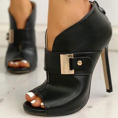 Frauen PU Stöckel Absatz Absatzschuhe mit Schnalle Schuhe