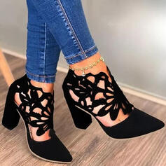 Women's PU Chunky Heel Pumps Low Top Pointed Toe With Hollow-out shoes