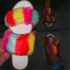 Frauen Stoff Flascher Absatz Sandalen Flache Schuhe Peep Toe Pantoffel mit Hohl-out Pelz Schuhe