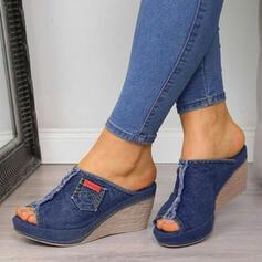 Frauen Baumwollstoff Keil Absatz Sandalen Keile Peep Toe Pantoffel Heels mit Zweiteiliger Stoff Schuhe