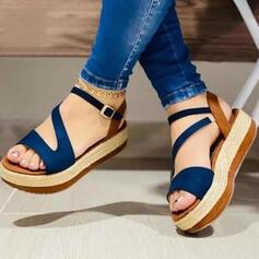 Frauen Veloursleder Flascher Absatz Sandalen Plateauschuh Peep Toe mit Hohl-out Spleißfarbe Schuhe