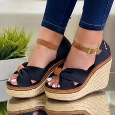 Frauen Veloursleder Keil Absatz Absatzschuhe Plateauschuh Keile Peep Toe Heels mit Hohl-out Spleißfarbe Schuhe