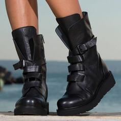 Frauen PU Stämmiger Absatz Stiefel Stiefel-Wadenlang Martin Stiefel Round Toe mit Reißverschluss Zuschnüren Schuhe