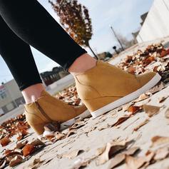 Frauen Kunstleder Keil Absatz Keile mit Tierdruckmuster Schuhe