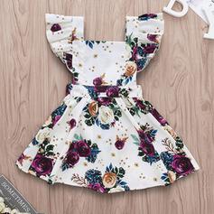 Baby Mädchen Rüschen Blumen Druck Baumwolle Kleid