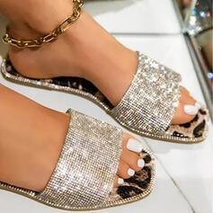 Frauen PU Flascher Absatz Sandalen Flache Schuhe Peep Toe Pantoffel Round Toe mit Schnalle Kreuz und quer Schuhe
