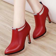 Frauen PU Stöckel Absatz Absatzschuhe Geschlossene Zehe Stiefel Stiefelette mit Schnalle Schuhe