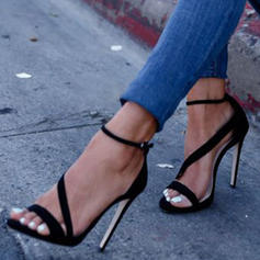 Frauen PU Stöckel Absatz Sandalen Absatzschuhe Heels mit Schnalle Schuhe