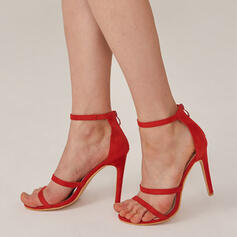 Frauen PU Stöckel Absatz Sandalen Absatzschuhe Peep Toe mit Reißverschluss Hohl-out Einfarbig Schuhe