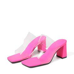 Frauen PU Stöckel Absatz Sandalen Absatzschuhe Peep Toe Quadratischer Zeh mit Hohl-out Schuhe