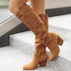 Women's Suede Chunky Heel Boots With Zipper Solid Color shoes