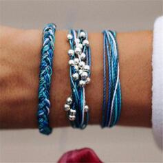 Boho Layered Alloy Braided Rope Women's Bracelets 3 PCS