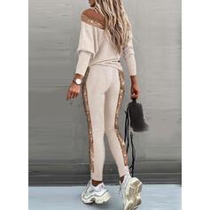 Geometrisch Pailletten Lässige Kleidung Sportlich Anzüge
