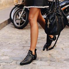 Frauen PU Stämmiger Absatz Stiefelette Spitze mit Niete Schuhe