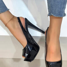 Women's PU Stiletto Heel Pumps Platform Peep Toe Heels With Hollow-out Solid Color shoes