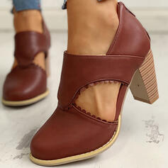 Frauen PU Stämmiger Absatz Absatzschuhe mit Zuschnüren Schuhe