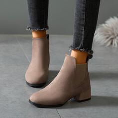 Frauen Veloursleder Stämmiger Absatz Stiefelette Low Top Round Toe mit Gummiband Einfarbig Schuhe