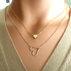 Herz Romantisch Valentinstag Legierung mit Herz Frauen Schmuck Sets Halsketten 2 STÜCK