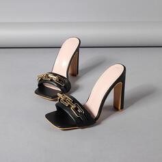 Frauen PU Stöckel Absatz Sandalen Absatzschuhe Peep Toe Quadratischer Zeh mit Kette Hohl-out Schuhe