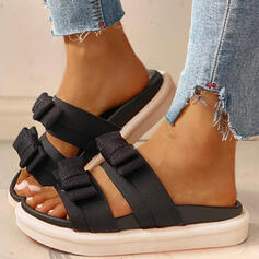 Frauen PU Flascher Absatz Sandalen Peep Toe Pantoffel mit Bowknot Schuhe