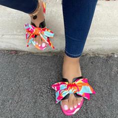 Frauen EVA Flascher Absatz Sandalen Flache Schuhe Peep Toe Pantoffel mit Bowknot Schuhe