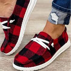 Frauen Leinwand Flascher Absatz Flache Schuhe mit Zuschnüren Spleißfarbe Schuhe