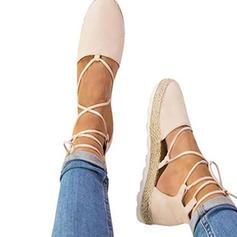 Frauen Veloursleder Keil Absatz Plateauschuh Keile mit Zuschnüren Schuhe