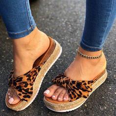 Frauen Stoff Flascher Absatz Sandalen Pantoffel mit Bowknot Schuhe